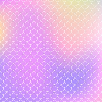 Mermaid scales background with holographic gradient. bright color transitions. fish tail banner and invitation. underwater and sea pattern for girlie party. creative backdrop with mermaid scales.