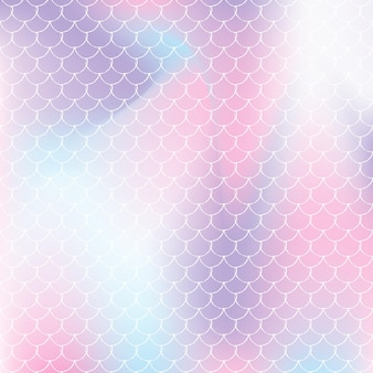 Mermaid scales background with holographic gradient. bright color transitions. fish tail banner and invitation. underwater and sea pattern for girlie party. stylish backdrop with mermaid scales.