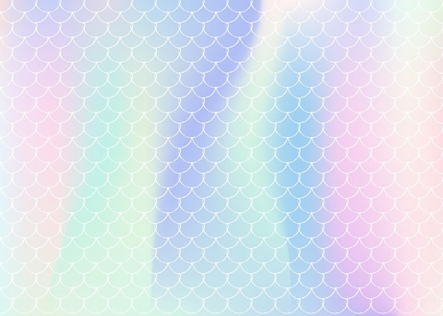 Mermaid scales background with holographic gradient. bright color transitions. fish tail banner and invitation. underwater and sea pattern for girlie party. trendy backdrop with mermaid scales.