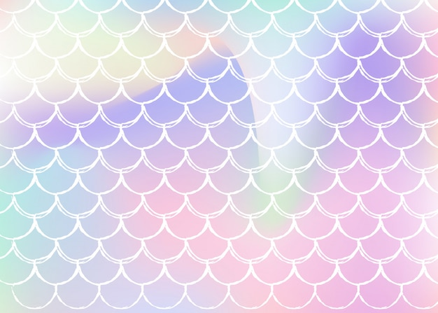 Mermaid scales background with holographic gradient.