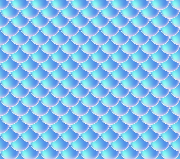 人魚の鱗。魚鱗。青のシームレスパターン