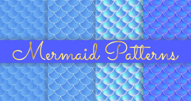 Mermaid scales. fish squama. set of blue seamless patterns. color  illustration. watercolor background. scale print.