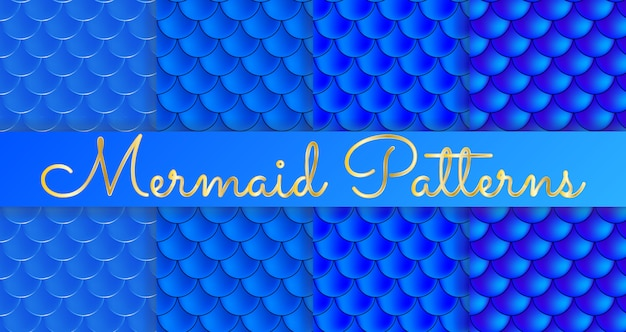 Mermaid scales. fish squama. set of blue seamless patterns.