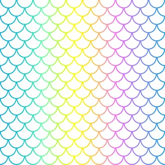 Mermaid scales on white background. fish squama. rainbow colors. scale print.