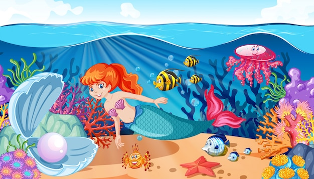 Mermaid and sea animal theme cartoon style on under sea background