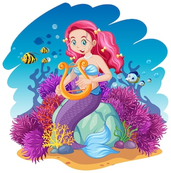 Stile cartone animato tema sirena e animali marini su sfondo mare