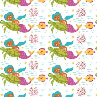 Mermaid sea pattern turtle fish
