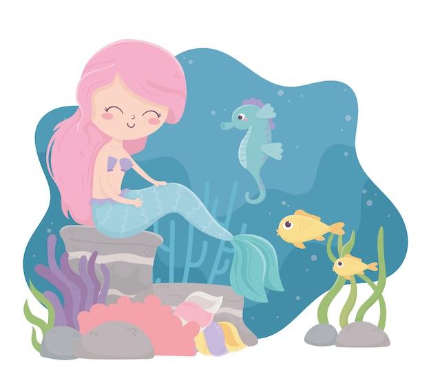 바다 벡터 일러스트 레이 션에서 인어 해마 물고기 달팽이 조류 산호 만화