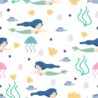 Mermaid seamless pattern for kids and children