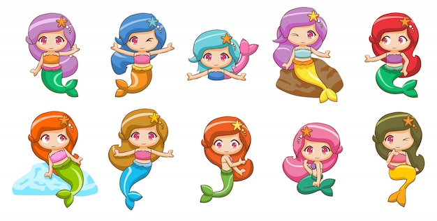 Mermaid set collection graphic clipart design