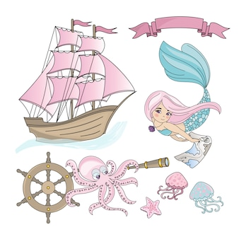 Mermaid ship sea travel color illustration set for print