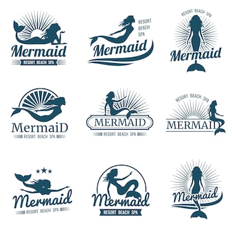 Mermaid silhouette stylized  logo collection