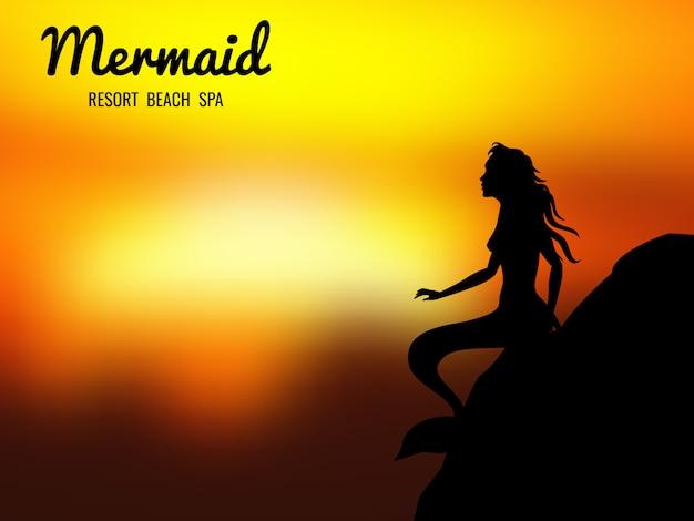 Mermaid silhouette sunrise background