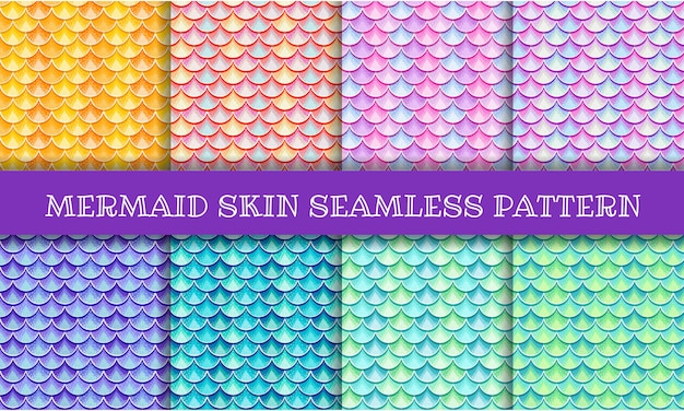 Mermaid skin iridescent seamless pattern