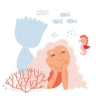 Mermaid smiling seahorseunderwater fantasy world illustration for childrens book
