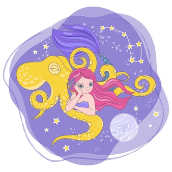 Mermaid space cartoon