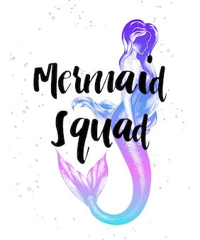 Mermaid squad with sketch of mermaid girl
