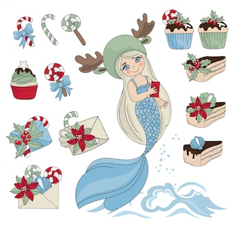 Mermaid sweet set new year color illustration for birthday and party