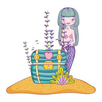 Mermaid swimming undersea