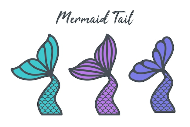 Mermaid tail with scales set