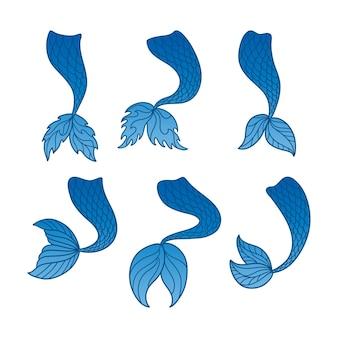 인어 꼬리. 요정 사이렌의 바다 상징입니다.