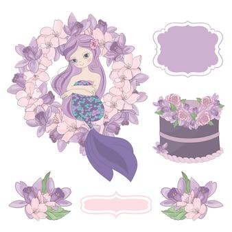 Mermaid theme birthday elements.