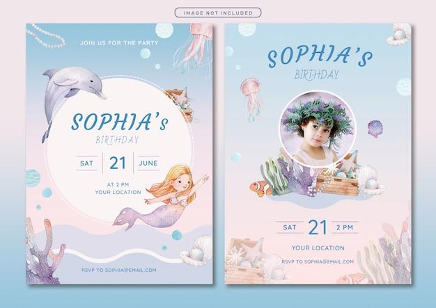 人魚のテーマの誕生日の招待カードテンプレート