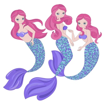 Mermaid trio underwater sea cartoon