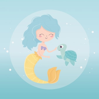Mermaid and turtle bubbles cartoon under the sea vector illustration