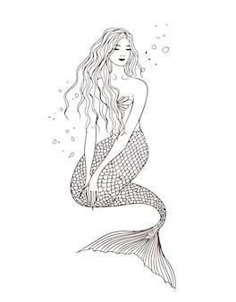 水の下で人魚、正面、座る姿勢。手描きの輪郭図。美しいナイアド。