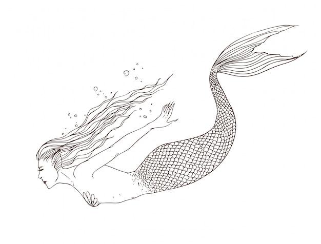 Русалка под водой, вид сбоку, рисованной контурной иллюстрации. прекрасная наяда.