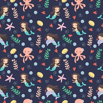 Mermaid and underwater friend pattern/background
