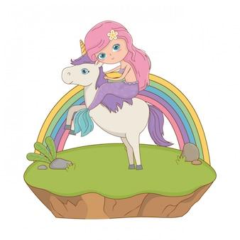 Mermaid and unicorn of fairytale design vector illustration