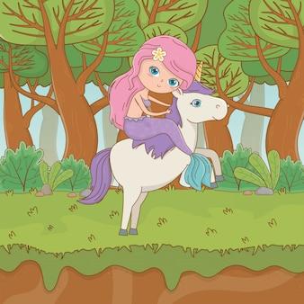 Mermaid and unicorn of fairytale