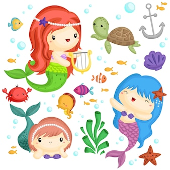 Mermaid vector set