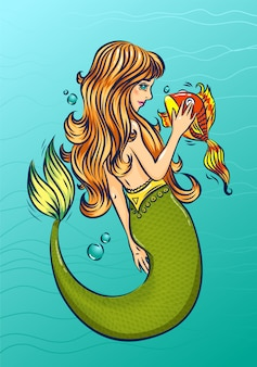 Mermaid with gold fish in the sea. fairytale cartoon character