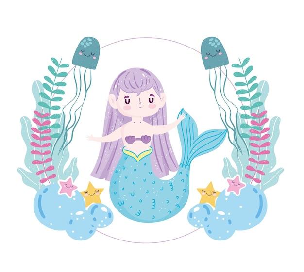 クラゲ、ヒトデ、藻類のイラストと人魚
