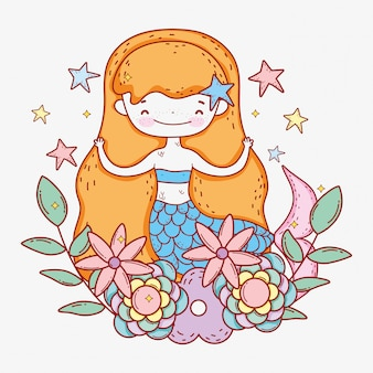 Mermaid with stars and flowers leaves plants