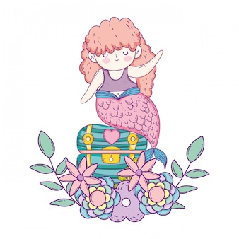 Mermaid with treasure chest and flowers