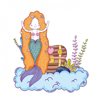 Mermaid with treasure chest undersea scene