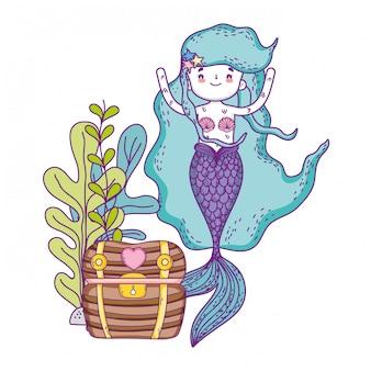 Mermaid with treasure chest undersea scene