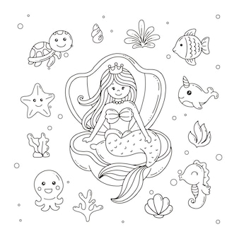 Mermaid with underwater animals and plant coloring page for kids