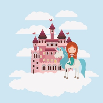 Mermaid with unicorn in the clouds and castle