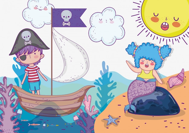 Mermaid woman and pirate boy in the ship