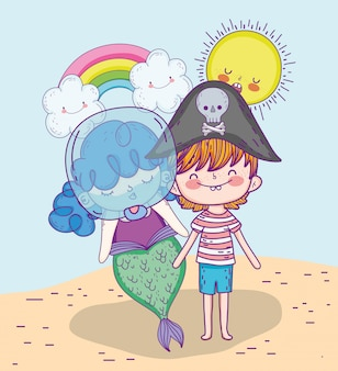 Mermaid woman and pirate boy with rainbow and clouds