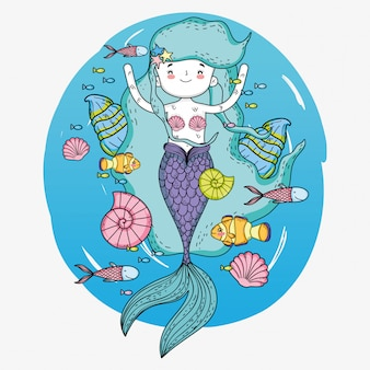Mermaid woman with fishes and snails underwater