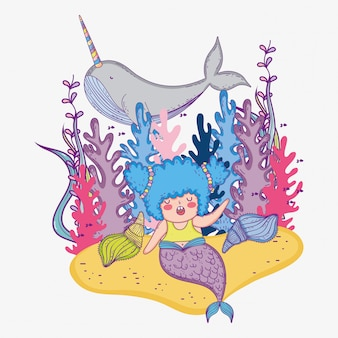 Mermaid woman with narwhal and seaweed plants