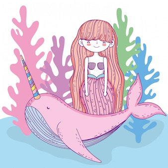 Mermaid woman with whale unicorn and seaweed