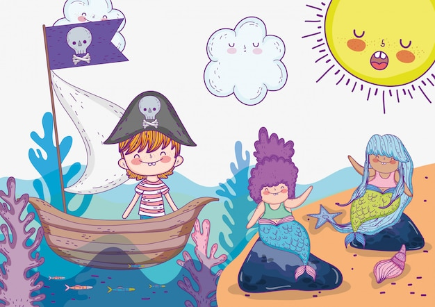 Mermaid women with pirate boy in the ship