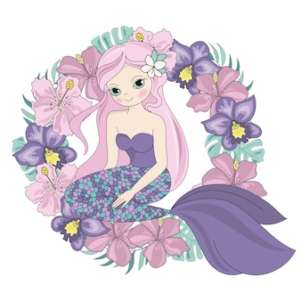 Mermaid wreath floral sea princess